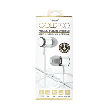 Sentry Gold Pro Metal Earbuds with In-Line Mic & Deluxe Case, White, H8002