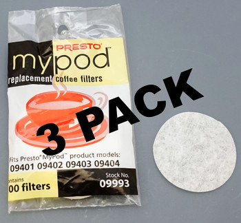 3 Pk, Presto MyPod Replacement, 100 ct, Coffee Filters, 09993