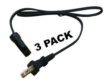 """3 Pk Percolator Power Cord, 2' 6"""" for Farberware Presto Fits 2 prong 36276 04772"""