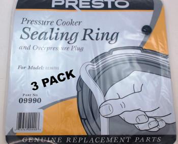 3 Pk, Presto Pressure Cooker Sealing Ring Gasket For Model 0136705, 09990