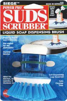 Siege, Power Pro Suds Scrubber, Liquid Soap Dispensing Brush, Blue, 630B