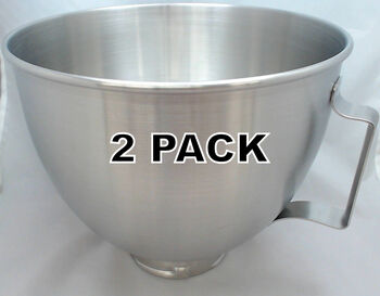 2 Pk Stand Mixer 5 Quart S.S. Bowl w/Handle Works On KitchenAid Tilt Head Mixer