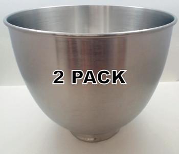 2 Pk, Stand Mixer 3.5 Quart Stainless Steel Bowl for KitchenAid, W10747040