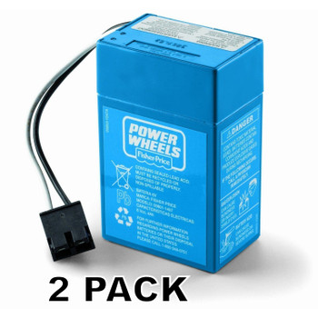 2 Pk, Power Wheels 6 Volt, Blue Battery, 00801-1457, 00801-1900
