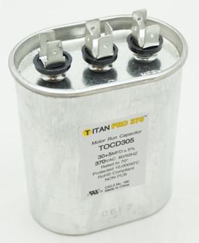 Packard Titan Pro 370 Dual Run Capacitor Oval 30+5 Mfd 370 Volt 30/5-370 POCD305