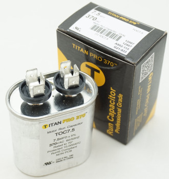Packard Titan Pro 370 Motor Run Capacitor, Oval, 7.5 Mfd, 370 V, 7.5-370, TOC7.5