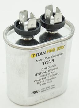 Packard Titan Pro 370 Motor Run Capacitor, Oval, 5 Mfd, 370 VAC, 5-370, TOC5