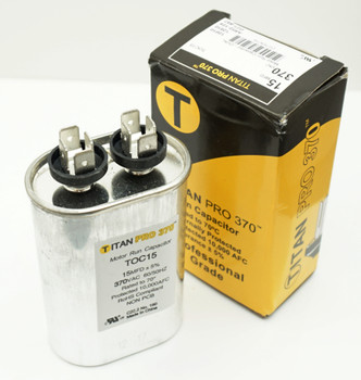 Packard Titan Pro 370 Motor Run Capacitor, Oval, 15 Mfd, 370 Volt, 15-370, TOC15