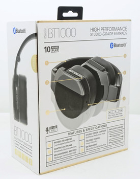 Sentry Pro Audio Studio Style Bluetooth Gray Headphone with Built-In Mic, BT1000