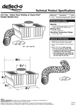 Deflecto Lint Trap Kit for Indoor Dryer Venting, LTF