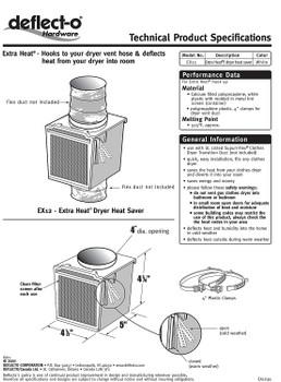 Deflecto USA Made, Extra Heat Deflector, Dryer Saver, EX12