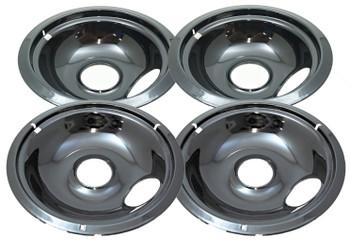 "Black Porcelain Drip Bowl 4 Pk for Whirlpool, (2) 6"" W10290353, (2) 8"" W10290350"