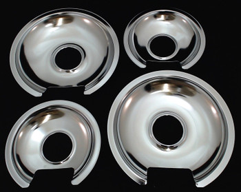 Chrome Burner Pans for General Electric, (2) WB32X10012 & (2) WB32X10013