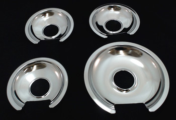 Chrome Burner Pans for General Electric, (3) WB32X10012 & (1) WB32X10013