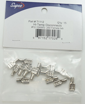 """Supco Hi-Temp Disconnects, 15 Pack, 12-10 AWG ¼"""" (.250"""") Female Tab, T1112"""