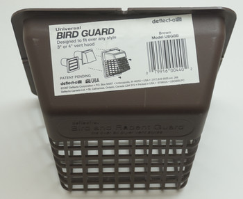 """Deflect-O Universal Bird Guard, Brown, Fits over any 3"""" or 4"""" vent hood, UBGBB"""