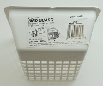 """Deflect-O Universal Bird Guard, White, Fits over any 3"""" or 4"""" vent hood, UBGWB"""