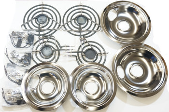 """Stove Restoration Kit, Surface Elements, Receptacles, and Drip Pans, 2-6"""" & 2-8"""""""