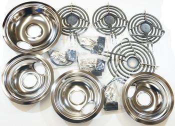 "Range Restoration Kit, Surface Elements, Receptacles, and Drip Pans, 3-6"", 1-8"""