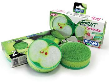 Siege 2 Sided Fruit Green Apple Design Sponges (2 Pk), 649