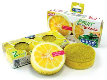 Siege 2 Sided Fruit Lemon Design Sponges (2 Pk), 648