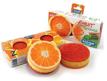 Siege 2 Sided Fruit Orange Design Sponges (2 Pk), 647