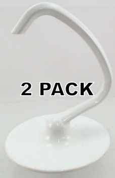 2 Pack, Coated 4.5 QT Dough Hook for KitchenAid Stand Mixer, K45DH, WPW10674618