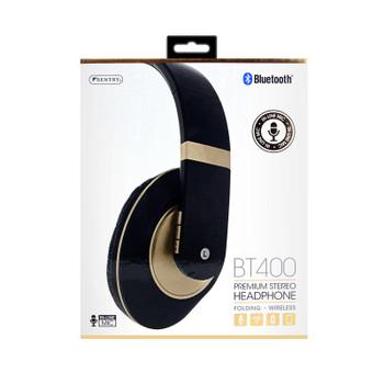 Sentry Premium Folding Wireless Gold Headphones, In-Line Mic, BT400GD