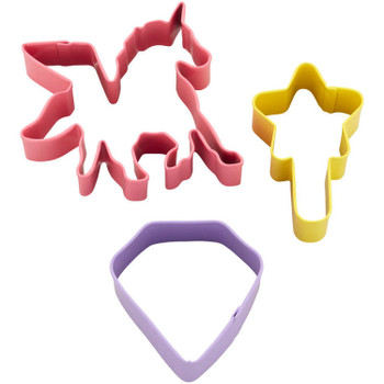 Wilton 3 Pc Unicorn, Magic Wand and Diamond Cookie Cutter Set, 2308-0-0295
