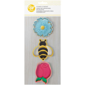 Wilton 3 Pc Daisy, Bumblebee and Tulip Spring Cookie Cutter Set, 2308-0-0293