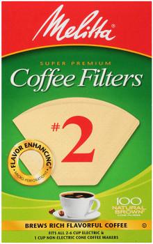 Melitta 622752, Super Premium, Natural Brown, Coffee Filters, #2 Cone, 100 Count