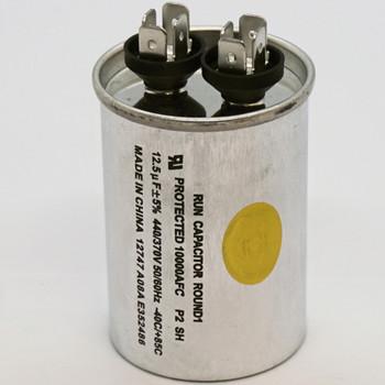 Run Capacitor, Round, 12.5 Mfd., 440 Volt, CR12.5X440R