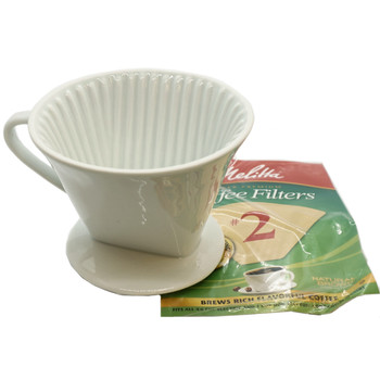 Melitta 64101, 1 Cup Porcelain Coffee Brewing Cone, White
