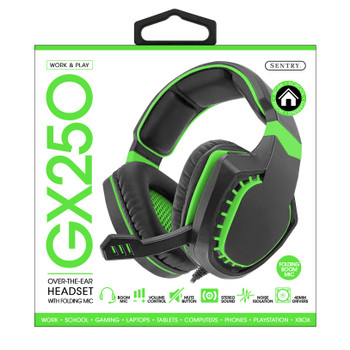 Sentry Pro Series Gaming Headset with Folding Mic, Green, HPX-GX250G