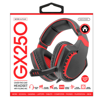 Sentry Pro Series Gaming Headset with Folding Mic, Red, HPX-GX250R