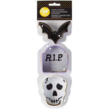 Wilton Bat, Skull, and Tomb 3 Piece Cookie Cutter Set, 2308-7567