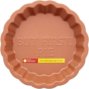"Wilton Autumn Copper Scallop ""But First Pie"" Pie Pan, 2105-0-0538"