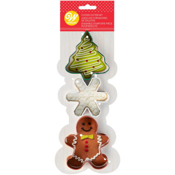 Wilton Snowflake, Tree and Gingerbread Boy, 3 Piece Cookie Cutter Set, 2308-1266
