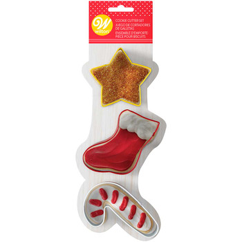 Wilton Star, Stocking, and Candy Cane, 3 Piece Cookie Cutter Set, 2308-7569