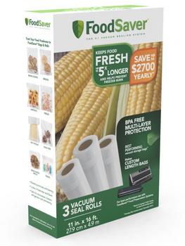 "Vacuum Seal 11"" x 16' Rolls, 3-Count fits FoodSaver, FSFSBF0634NP"