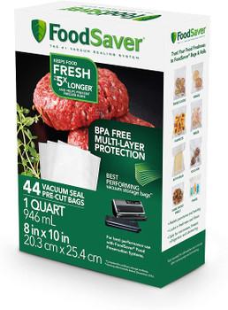 Vacuum Seal Pre-Cut Bags, 1 Quart, 44-Count, fits FoodSaver, FSFSBF0226NP