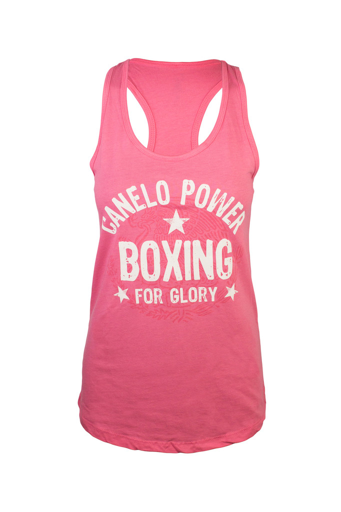 "Black ""Canelo"" Alvarez ""legends"" raceback tee in hot pink."