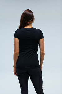 Label Womens sporty V Neck BLK