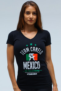 Flag Womens sporty V Neck BLK