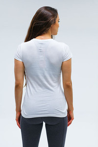 Straight Womens sporty V Neck White