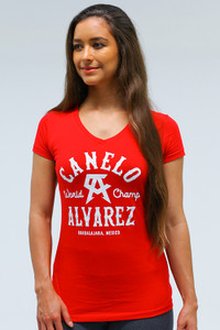 Western Womens sporty V Neck Red