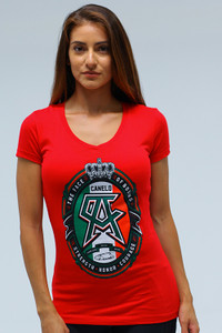 Label Womens sporty V Neck RED