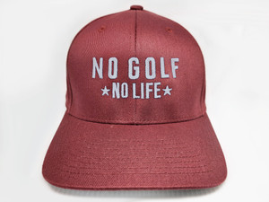 No Golf No Life Maroon Fitted Hat