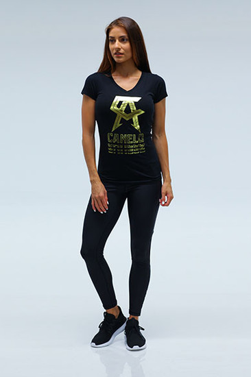Glare Womens sporty V Neck BLK
