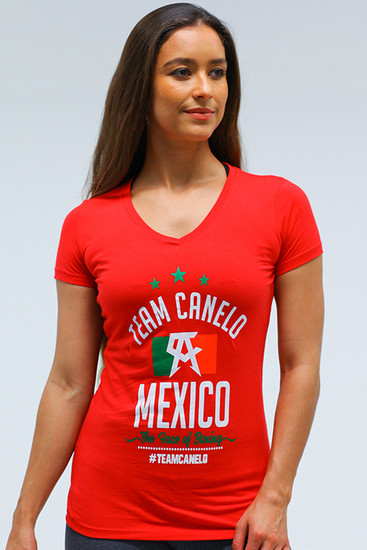 Flag Womens sporty V Neck RED